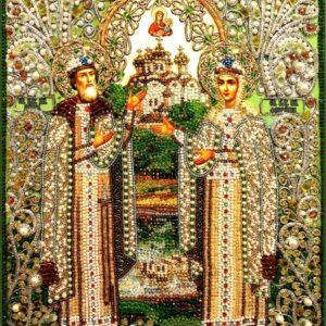 Образа в каменьях икона Святые Петр и Феврония арт. 7733
