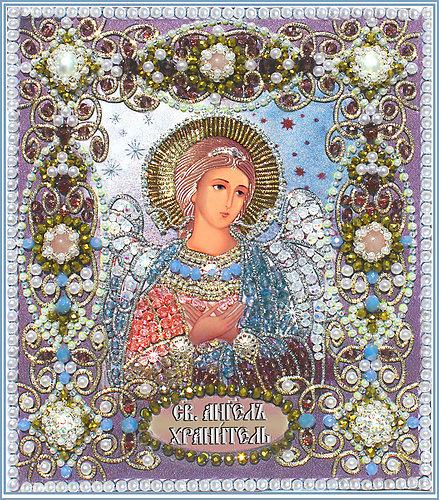 Образа в каменьях икона Ангел Хранитель арт. 7710