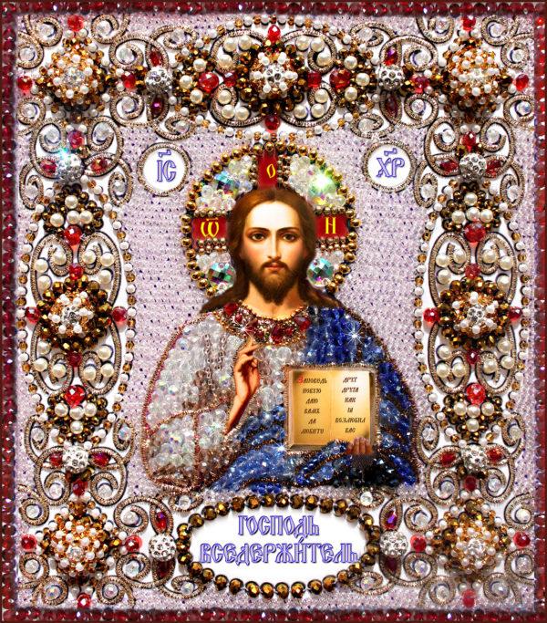 Образа в каменьях икона Господь Вседержитель арт. 77-ц-03