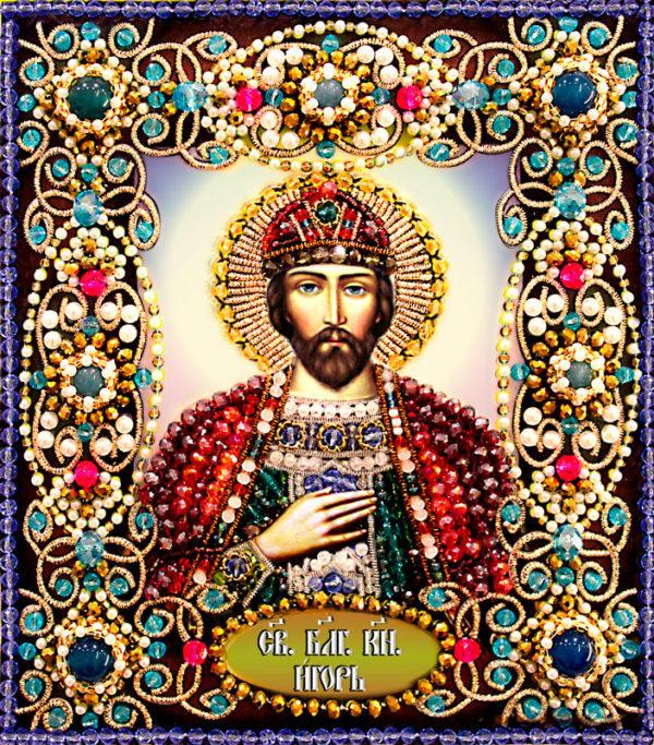 Образа в каменьях икона Святой Игорь арт. 77-и-34