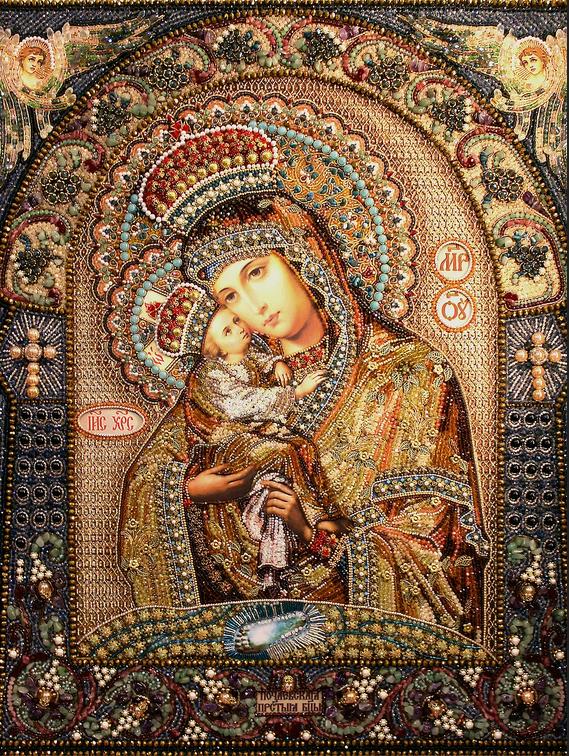 Образа в каменьях Почаевская Икона Божией Матери арт. 7751