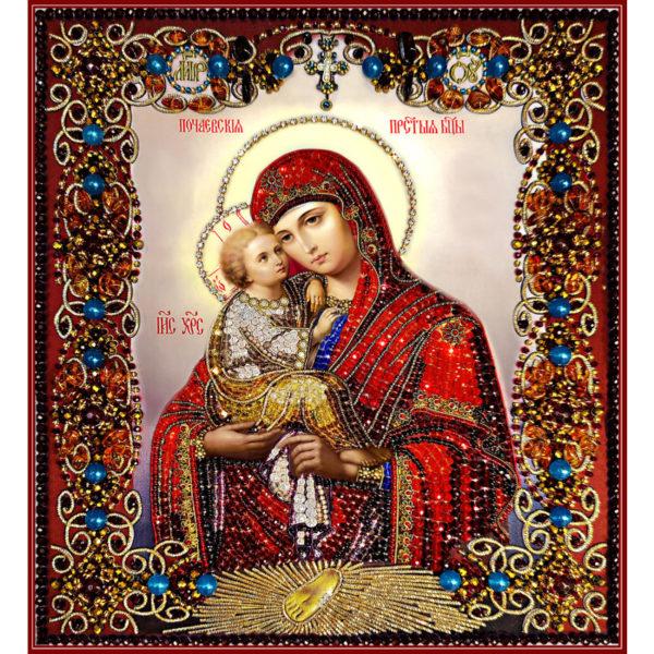 Образа в каменьях Почаевская Икона Божией Матери арт. 7762